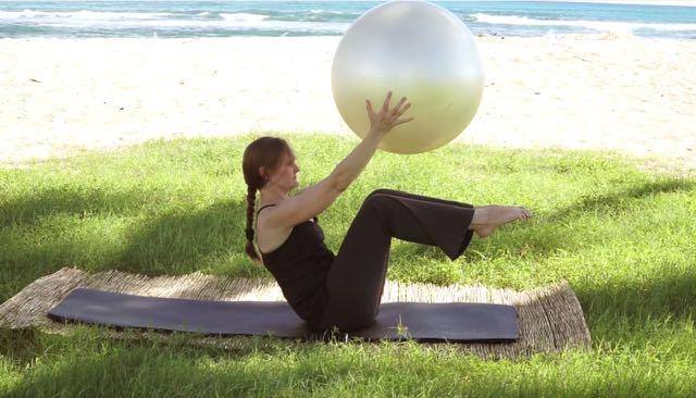 Rolling Like a Ball with Balance Ball_Upside-Down Pilates_Pilates Hawaii_Pilates Honolulu